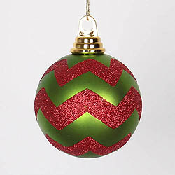 4 Inch Lime And Red Matte Glitter Chevron Round Shatterproof UV Christmas Ball Ornament 4 per Set