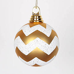 4 Inch Gold And White Matte Glitter Chevron Round Shatterproof UV Christmas Ball Ornament 4 per Set