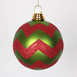 4.75 Inch Lime And Red Matte Glitter Chevron Round Ornament 3 per Set
