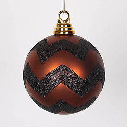4.75 Inch Copper And Black Matte Glitter Chevron Round Ornament 3 per Set