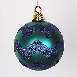 4.75 Inch Teal And Sea Blue Matte Glitter Chevron Round Ornament 3 per Set