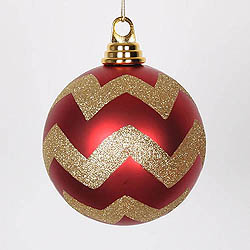 4.75 Inch Red And Gold Matte Glitter Chevron Round Ornament 3 per Set