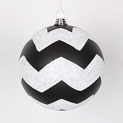 8 Inch Black And White Matte Glitter Chevron Round Ornament
