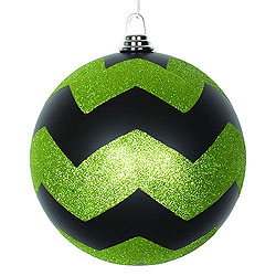 8 Inch Black And Lime Matte Glitter Chevron Round Ornament