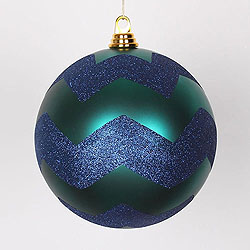 8 Inch Teal And Sea Blue Matte Glitter Chevron Round Ornament