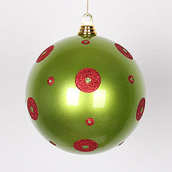 8 Inch Lime And Red Polka Dot Candy Round Ornament