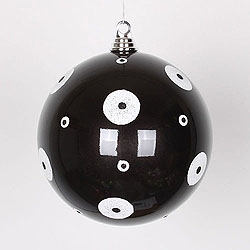 8 Inch Black And White Polka Dot Candy Round Ornament
