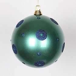 8 Inch Teal And Sea Blue Polka Dot Candy Round Ornament
