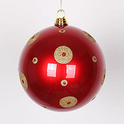8 Inch Red And Gold Polka Dot Candy Round Ornament