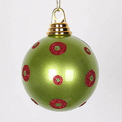 4.75 Inch Lime And Red Polka Dot Candy Round Ornament 3 per Set