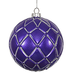 4 Inch Purple Candy Glitter Net Round Ornament 6 per Set