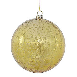 4 Inch Gold Shiny Mercury Round Ornament