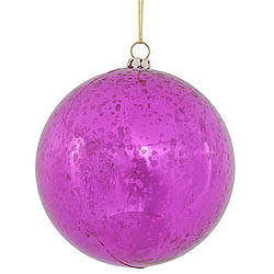 4 Inch Cerise Shiny Mercury Round Ornament