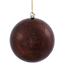 4 Inch Chocolate Shiny Mercury Round Ornament
