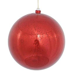 12 Inch Red Shiny Mercury Round Ornament