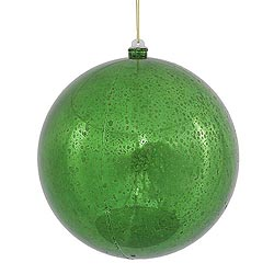 12 Inch Green Shiny Mercury Round Ornament