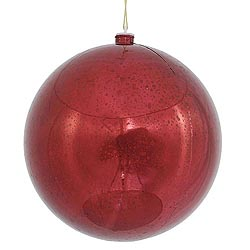 12 Inch Burgundy Shiny Mercury Round Ornament
