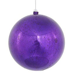 12 Inch Purple Shiny Mercury Round Ornament