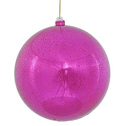 12 Inch Cerise Shiny Mercury Round Ornament