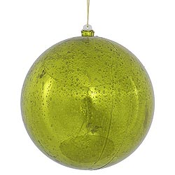 12 Inch Lime Shiny Mercury Round Ornament