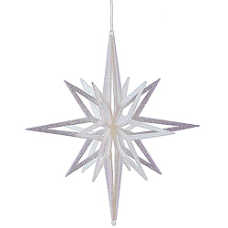16 Inch 3D White Iridescent Glow Glitter Star Christmas Ornament