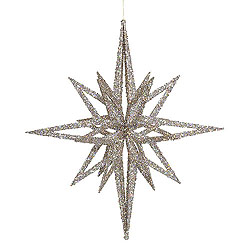24 Inch 3D White Iridescent Glow Glitter Star Christmas Ornament