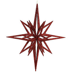 24 Inch Red 3D Glitter Star Ornament