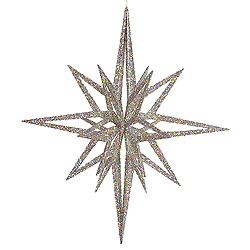 32 Inch 3D White Iridescent Glow Glitter Star Christmas Ornament