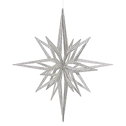 32 Inch 3D Silver Iridescent Glow Glitter Star Christmas Ornament