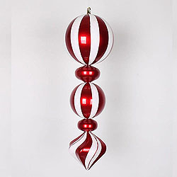 Jumbo 24 Inch Red and White Striped Peppermint Candy Christmas Finial Ornament