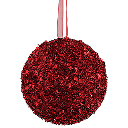 4 Inch Red Sequin Glitter Round Shatterproof UV Christmas Ball Ornament 4 per Set