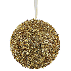 4 Inch Gold Sequin Glitter Round Shatterproof UV Christmas Ball Ornament 4 per Set