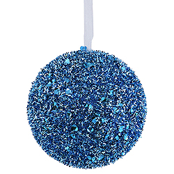 6 Inch Teal Sequin Glitter Round Ornament 2 per Set