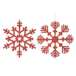 32 Inch Red Glitter Snowflake Ornament 2 per Set