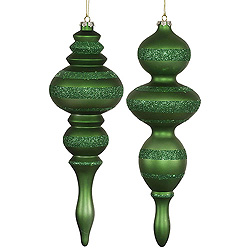 14 Inch Green Candy Finish with Glitter Finial Christmas Ornament Set of 2