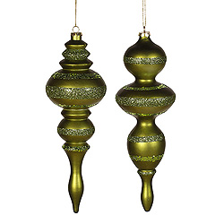 14 Inch Dark Olive Candy Finish with Glitter Finial Christmas Ornament Set of 2