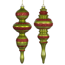 14 Inch Lime Candy Finish with Red Glitter Finial Christmas Ornament Set of 2