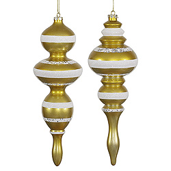 14 Inch Gold Candy Finish with White Glitter Finial Christmas Ornament Set of 2