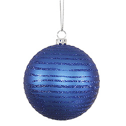 3 Inch Blue Matte Glitter Round Ornament 6 per Set