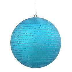 3 Inch Teal Matte Glitter Round Ornament Box of 6