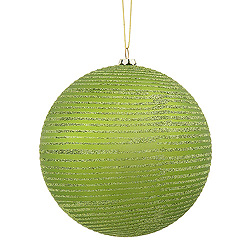 3 Inch Lime Matte Glitter Round Ornament 6 per Set