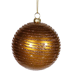 3 Inch Antique Gold Matte Glitter Round Ornament 6 per Set