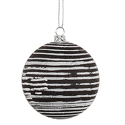 3 Inch Black Matte Glitter Round Ornament 6 per Set