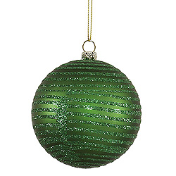 4 Inch Green Matte Glitter Round Shatterproof UV Christmas Ball Ornament 4 per Set