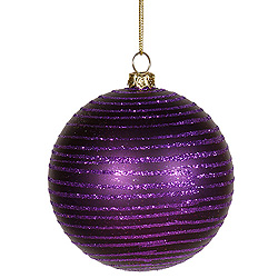 4 Inch Purple Matte Glitter Round Shatterproof UV Christmas Ball Ornament 4 per Set