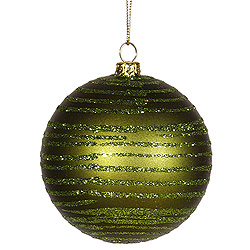 4 Inch Dark Olive Matte Glitter Round Shatterproof UV Christmas Ball Ornament 4 per Set