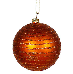 4 Inch Burnish Orange Matte Glitter Round Shatterproof UV Christmas Ball Ornament 4 per Set