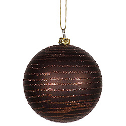 4 Inch Chocolate Matte Glitter Round Shatterproof UV Christmas Ball Ornament 4 per Set