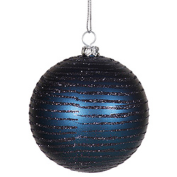 4 Inch Sea Blue Matte Glitter Round Shatterproof UV Christmas Ball Ornament 4 per Set