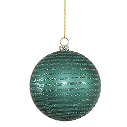 4 Inch Emerald Matte Glitter Round Shatterproof UV Christmas Ball Ornament 4 per Set